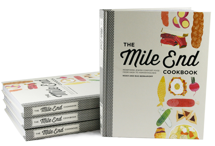Mile End is a Montreal inspired Jewish Deli in New York City that specializes in traditional Jewish comfort food made from scratch. The owners contacted me about illustrating the cover and asked for an image that felt reminiscent of vintage cookbooks and yet clearly contemporary.
