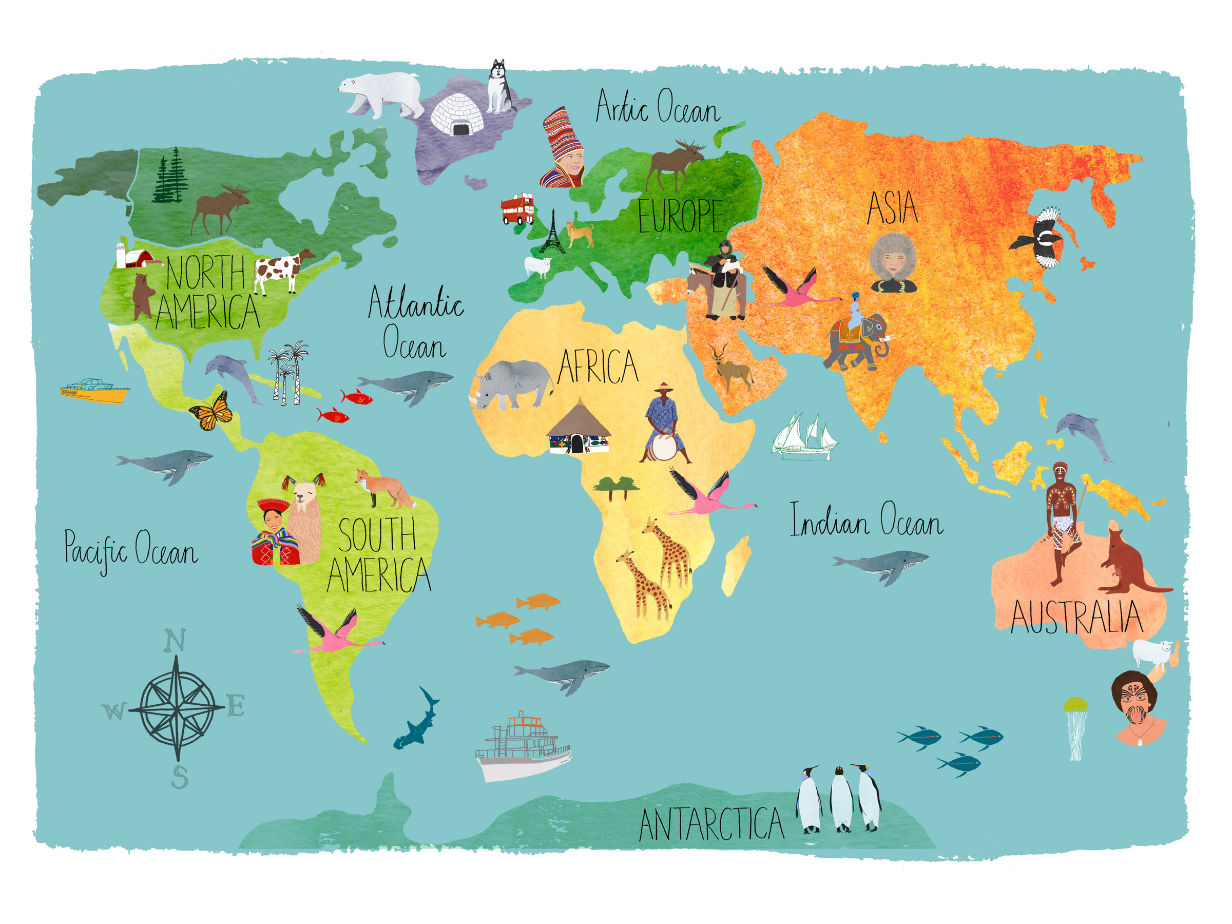 Hand Drawn Map Of The World.Inspiration Hand Drawn Maps Claudia Pearson Illustration